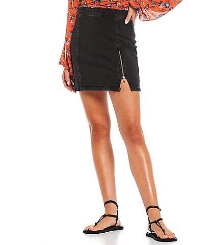 Free People Midnight Magic Zip Front Hem Detail Mini Skirt