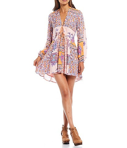 Free People Mixin It Up Long Sleeve V-Neck Mini Dress