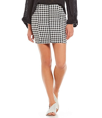 Free People Modern Femme Novelty Gingham Skirt
