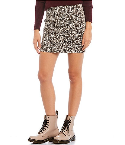 Free People Modern Femme Novelty Leopard Print Stretch Denim Mini Skirt