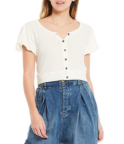 Free People Molly Button Front Cropped Puffed Sleeve Tee