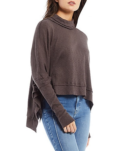 Free People Moon Daisy Ribbed Knit Funnel Neck Drop Shoulder Dolman Long Sleeve Exposed Seaming Sweater