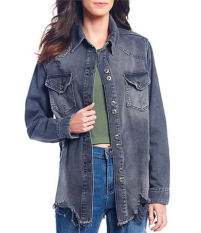 Free People Moonchild Distressed Denim Shirt Jacket