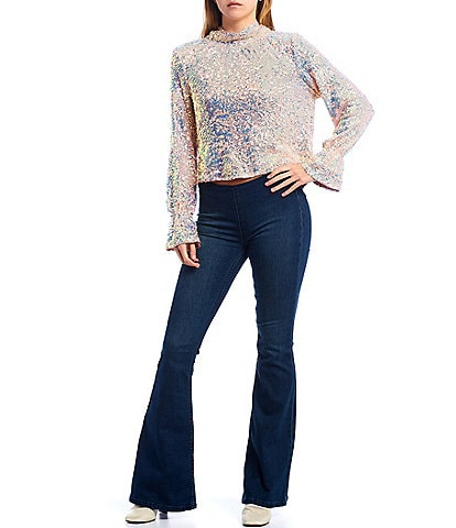 Free People Moonstruck Sequin Mock Neck Long Sleeve Cowl Back Top