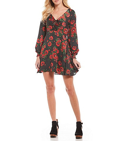 Free People Morning Light Floral Print Bishop Sleeve Mini Dress