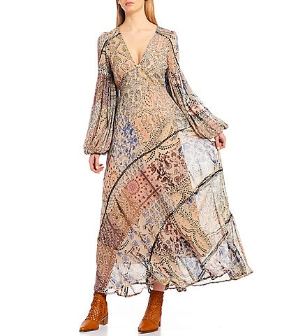 Free People Moroccan Dream Puff Sleeve V-Neck Maxi Dress