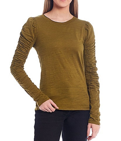 Free People Natasha Puffed Shoulder Ruched Long Sleeve Soft Knit Tee