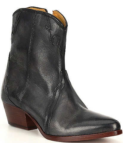 Free People New Frontier Leather Block Heel Western Booties
