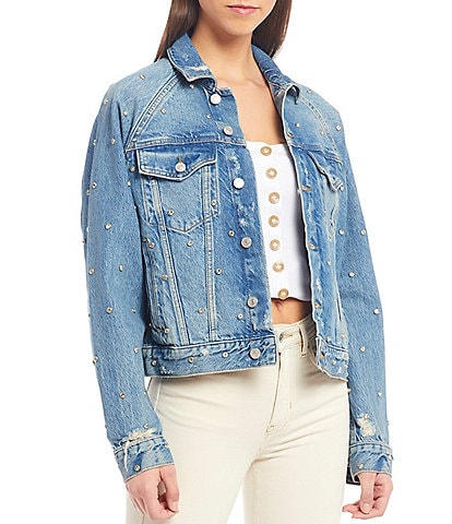 Free People Night After Night Distressed Studded Embellished Detail Denim Jacket