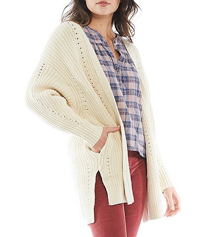 Free People Nightingale Cable Knit Long Blouson Sleeve High-Low Open-Front Cardigan