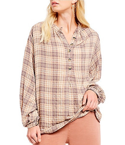 Free People Northern Bound Plaid Western Inspired Henley Top