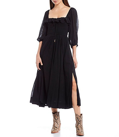 Free People Oasis Smocked Cotton Square Neck Peasant Midi Dress