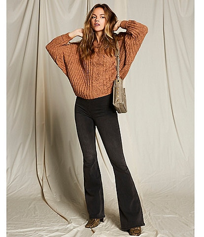Free People On Your Side Long Drop Shoulder Slouchy Cropped Pullover Sweater