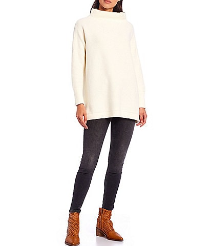 Free People Ottoman Slouchy Funnel Neck Long Sleeve Tunic Sweater