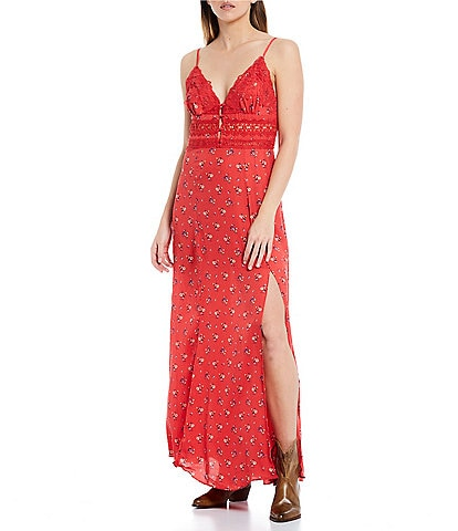 Free People Out & About V-Neck Sleeveless Lace Maxi Floral Slip Dress