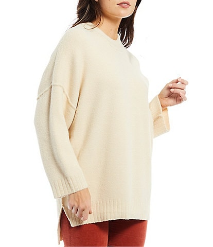 Free People Oversized Ribbed High Crew Neck Long Sleeve Drop Shoulder Peaches Tunic