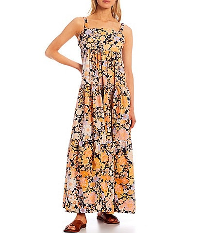 Free People Park Slope Sleeveless Square Neck Floral Maxi Dress