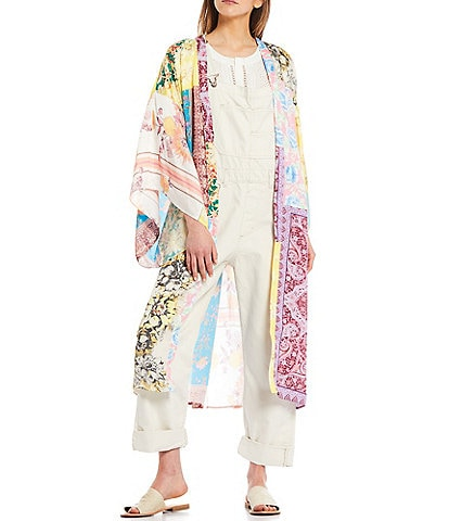 Free People Patched With Love Long Sleeve Open Front Robe