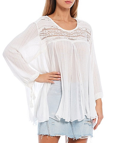 Free People Penny Lane Semi Sheer Woven Drawstring Sleeve Lace Detailing Tunic
