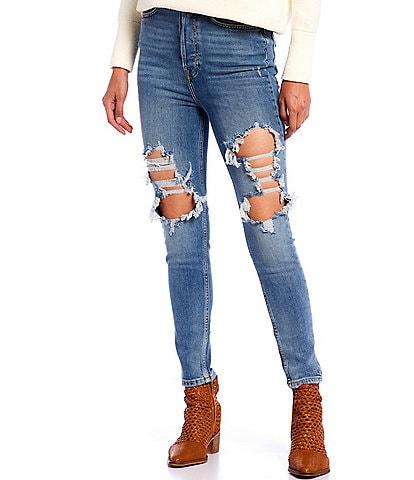 Free People Phoenix Distressed High Rise Skinny Jeans