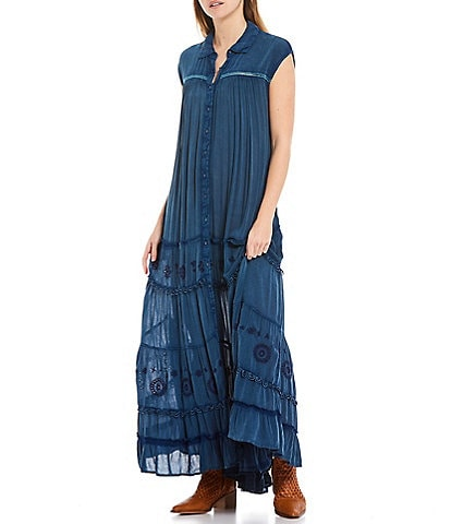 Free People Pretty Cozy Lace Trimmed Button-Down Embroidered Eyelet Tiered Maxi Dress