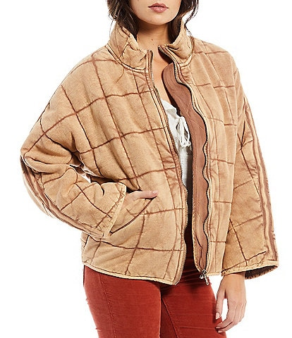Free People Quilted Knit Stand Collar Long Dolman Sleeve Cozy Jacket