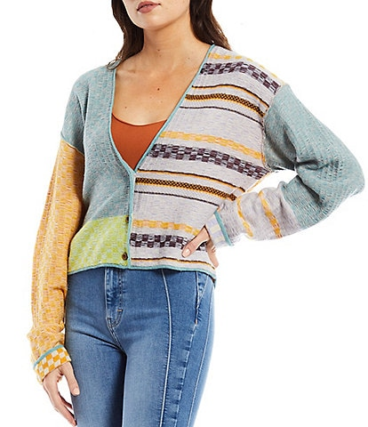 Free People Ready Set Go Mixed Print V-Neck Button Front Drop Shoulder Cropped Statement Cardigan