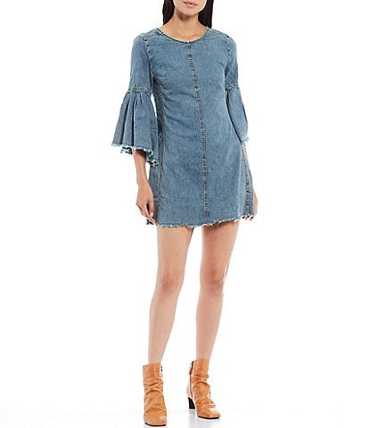 Free People Reckless Life 3/4 Flare Sleeve Open Back Detail Denim Raw Hem Dress