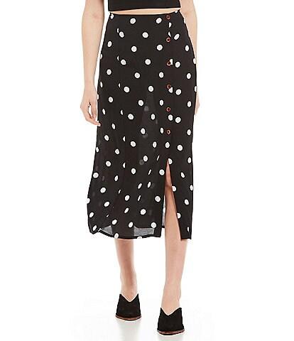 Free People Retro Love Polka-Dot High Waist Midi Skirt
