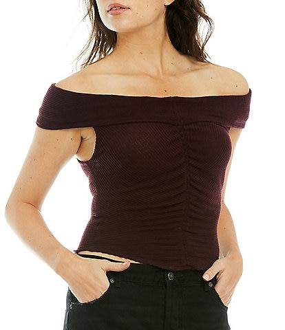 Free People This Cutie Ribbed Knit Folded Off-the-Shoulder Cap Sleeve Cinched Top