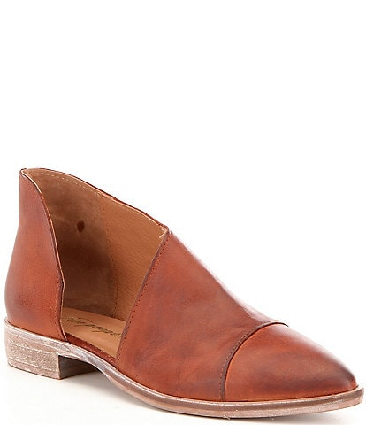 Free People Royale d'Orsay Leather Slip-On Block Heel Booties
