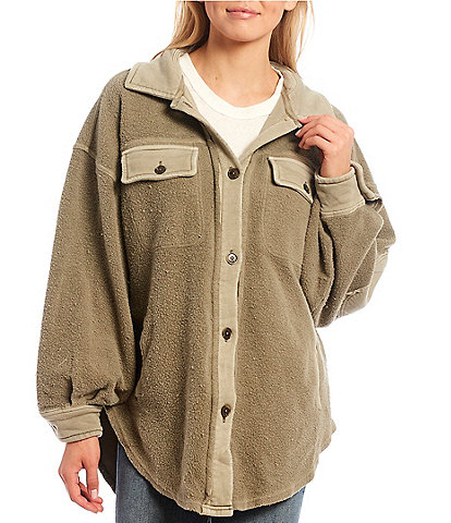 Free People Ruby Heavy Knit Button Front Point Collar Oversized Shirt Jacket