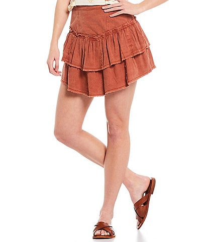 Free People Ruffles In The Sand Tiered Mini Skirt