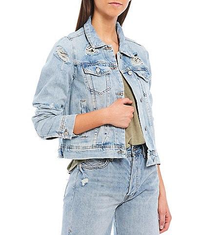 Free People Rumors Long Sleeve Distressed Denim Jacket