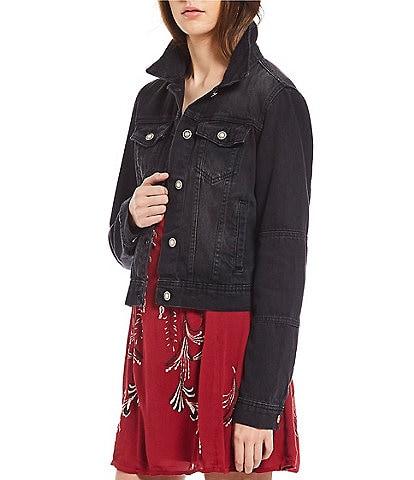 Free People Rumors Point Collar Long Sleeve Cuffed Denim Jacket