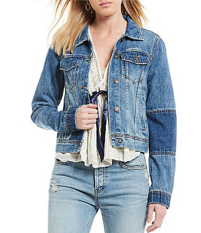 Free People Rumors Two Tone Denim Jacket