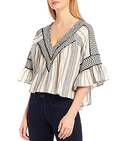 Free People Runnin On A Dream Woven Embroidered V-Neck Top