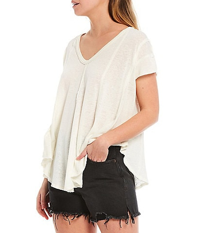 Free People Sammie V-Neck Short Sleeve Flowy Hi-Low Tee