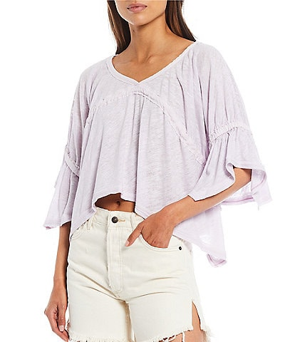 Free People Sand Storm Ruffle Sleeve Top