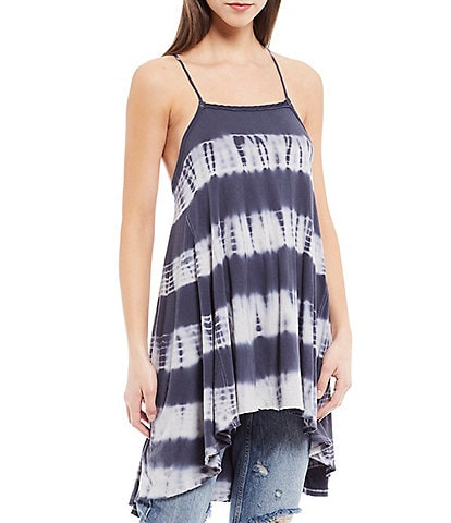 Free People Seashell Tie Dye Square Neck Sleeveless Tunic