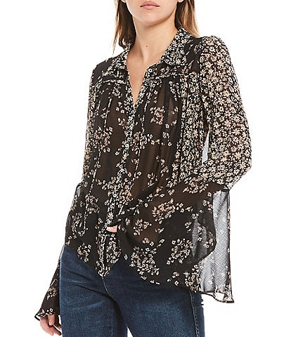 Free People Serena Floral Print Long Bell Sleeve Button Front Blouse