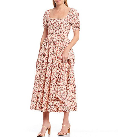 Free People She's A Dream Ditsy Floral Print Square Neck Puff Sleeve Cotton Midi Dress