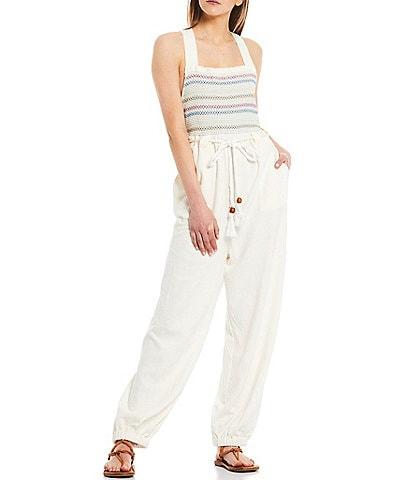 Free People Sienna Square Neck Sleeveless Smocked Open Back Jumpsuit