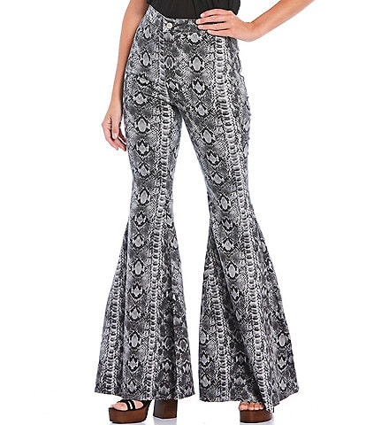 Free People Snake Print Just Float On High Rise Flare Jeans