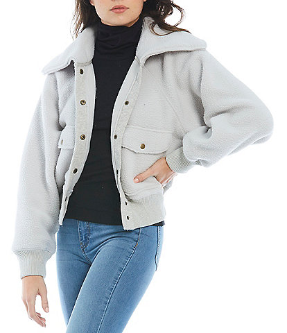 Free People Snap Front Exaggerated Point Collar Long Sleeve Shasta Cozy Cardigan