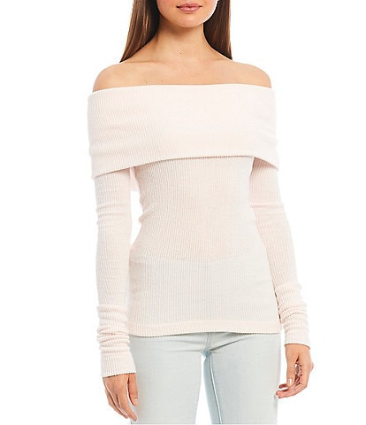 Free People Snowbunny Long Sleeve Off-the-Shoulder Knit Top