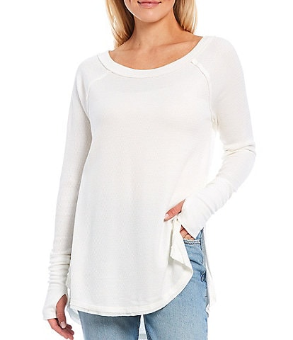 Free People Snowy Long Sleeve Slouchy Thermal Tunic Top