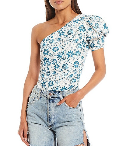 Free People Somethin Bout You Floral One Shoulder Puff Sleeve Bodysuit