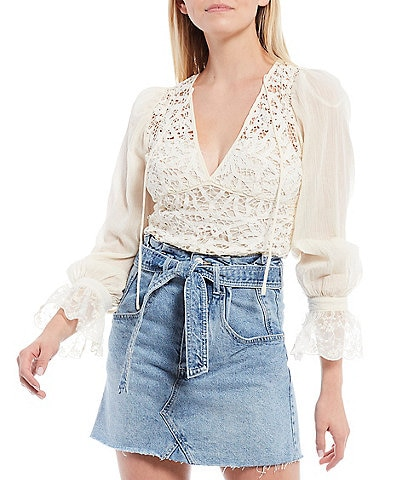 Free People Sorelle V-Neck Lace Top