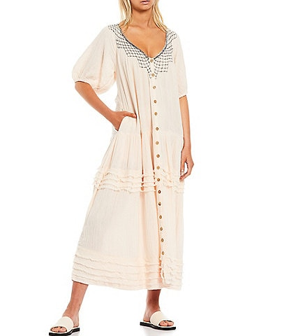 Free People Sunday Stroll Embroidered V-Neck Puff Sleeve Button Front Pleat Tiered Details Maxi Swing Dress
